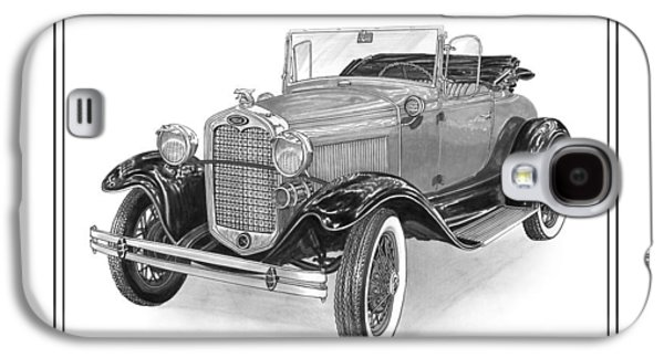 Pen And Ink Framed Prints Galaxy S4 Cases - 1931 Ford Convertible Galaxy S4 Case by Jack Pumphrey