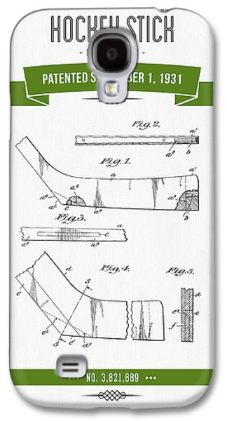 Hockey Mixed Media Galaxy S4 Cases - 1931 Hockey Stick Patent Drawing - Retro Green Galaxy S4 Case by Aged Pixel