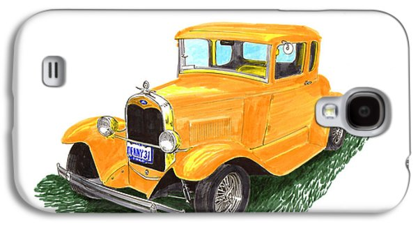 Pen And Ink Framed Prints Galaxy S4 Cases - 1931 Yellow Ford Coupe Galaxy S4 Case by Jack Pumphrey