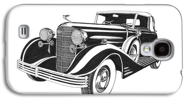 Owner Drawings Galaxy S4 Cases - 1933 Cadillac Victoria V 16 Convertible Galaxy S4 Case by Jack Pumphrey