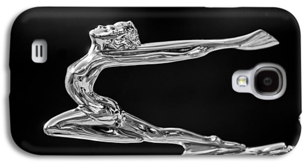 Classic Cars Photographs Galaxy S4 Cases - 1934 Buick Goddess Hood Ornament -174BW Galaxy S4 Case by Jill Reger