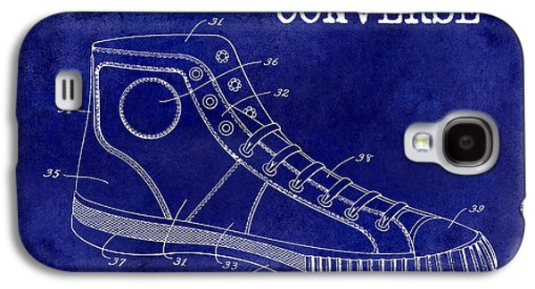 Nike Galaxy S4 Cases - 1934 Converse Shoe Patent Drawing Blue Galaxy S4 Case by Jon Neidert