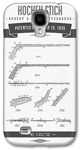 Hockey Mixed Media Galaxy S4 Cases - 1935 Hockey Stick Patent Drawing - Retro Gray Galaxy S4 Case by Aged Pixel