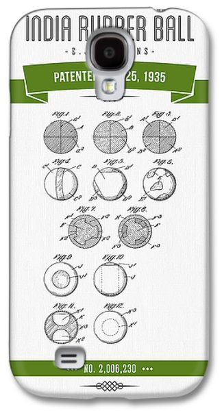 Technical Mixed Media Galaxy S4 Cases - 1935 India Rubber Ball Patent Drawing - Retro Green Galaxy S4 Case by Aged Pixel