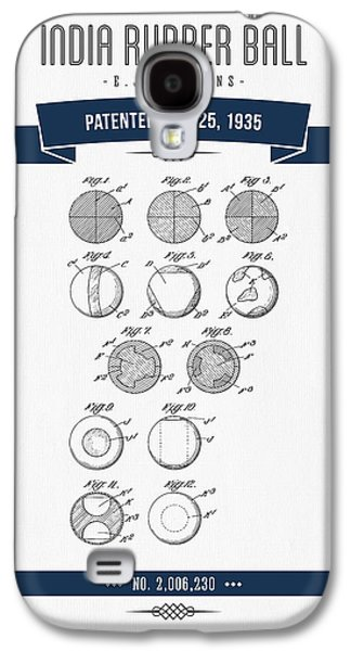 Technical Mixed Media Galaxy S4 Cases - 1935 India Rubber Ball Patent Drawing - Retro Navy Blue Galaxy S4 Case by Aged Pixel