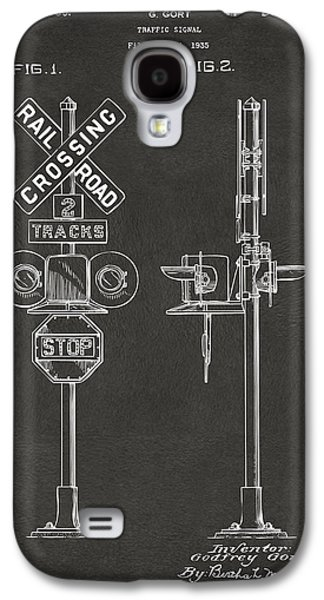Rail Digital Art Galaxy S4 Cases - 1936 Rail Road Crossing Sign Patent Artwork - Gray Galaxy S4 Case by Nikki Marie Smith