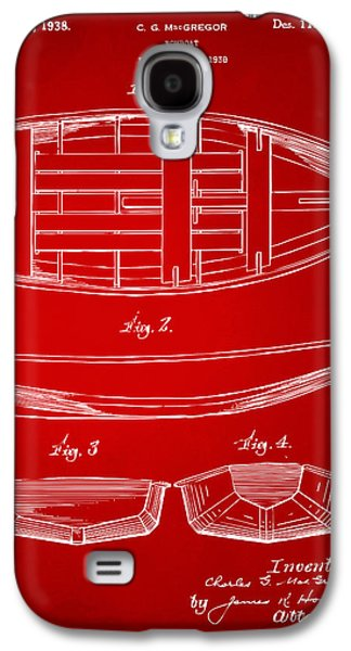Row Boat Digital Galaxy S4 Cases - 1938 Rowboat Patent Artwork - Red Galaxy S4 Case by Nikki Marie Smith