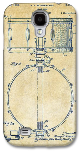 Engineer Galaxy S4 Cases - 1939 Snare Drum Patent Vintage Galaxy S4 Case by Nikki Marie Smith