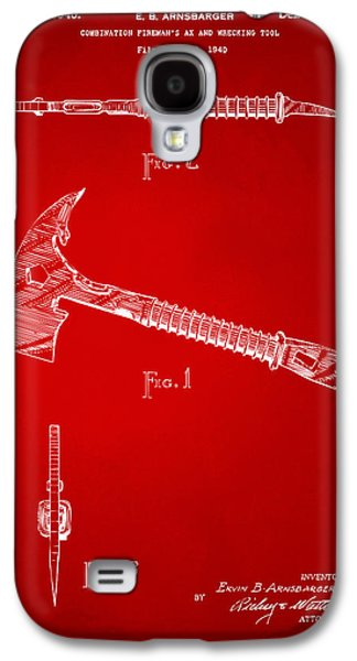 Cave Digital Galaxy S4 Cases - 1940 Firemans Axe Artwork Red Galaxy S4 Case by Nikki Marie Smith