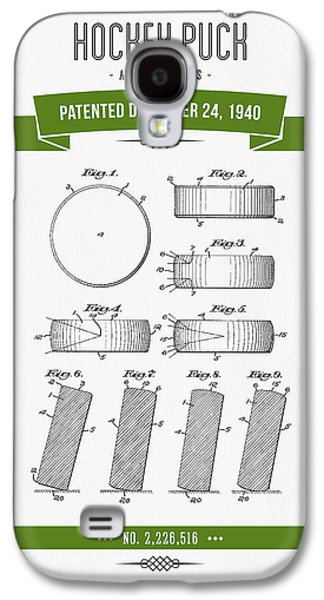 Hockey Mixed Media Galaxy S4 Cases - 1940 Hockey Puck Patent Drawing - Retro Green Galaxy S4 Case by Aged Pixel