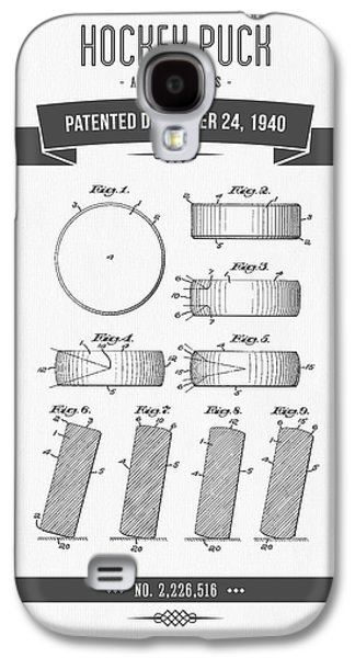 Hockey Mixed Media Galaxy S4 Cases - 1940 Hockey Puck Patent Drawing - Retro Grey Galaxy S4 Case by Aged Pixel