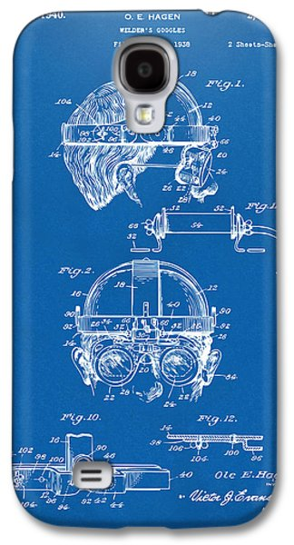 Steampunk Galaxy S4 Cases - 1940 Welders Goggles Patent Artwork Blueprint Galaxy S4 Case by Nikki Marie Smith