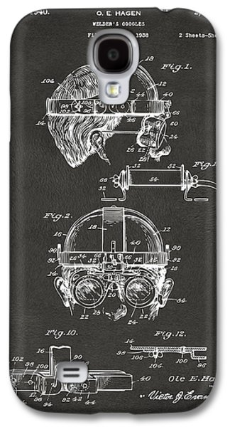 Steampunk Galaxy S4 Cases - 1940 Welders Goggles Patent Artwork - Gray Galaxy S4 Case by Nikki Marie Smith