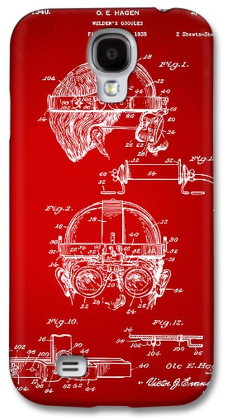 Steampunk Galaxy S4 Cases - 1940 Welders Goggles Patent Artwork Red Galaxy S4 Case by Nikki Marie Smith