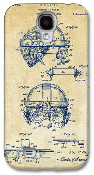 Steampunk Galaxy S4 Cases - 1940 Welders Goggles Patent Artwork Vintage Galaxy S4 Case by Nikki Marie Smith