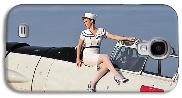 Full Skirt Galaxy S4 Cases - 1940s Style Pin-up Girl Sitting Galaxy S4 Case by Christian Kieffer
