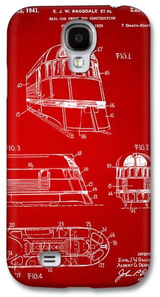 Rail Digital Art Galaxy S4 Cases - 1941 Zephyr Train Patent Red Galaxy S4 Case by Nikki Marie Smith