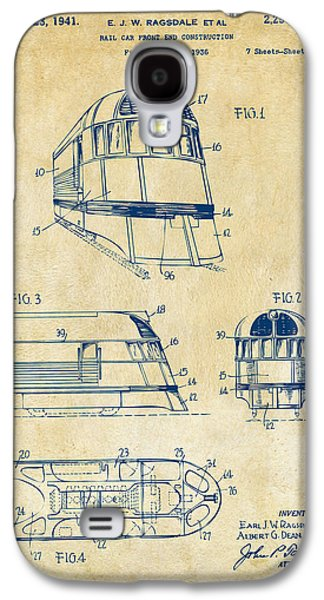 Rail Digital Art Galaxy S4 Cases - 1941 Zephyr Train Patent Vintage Galaxy S4 Case by Nikki Marie Smith