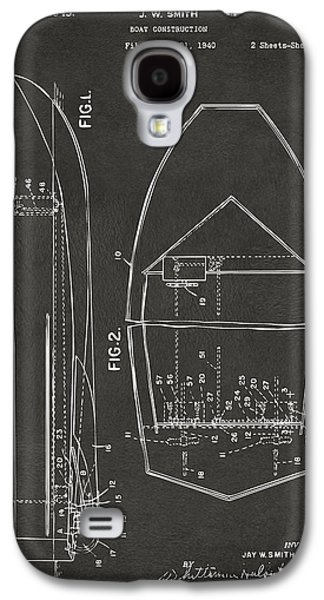 Boaters Galaxy S4 Cases - 1943 Chris Craft Boat Patent Artwork - Gray Galaxy S4 Case by Nikki Marie Smith