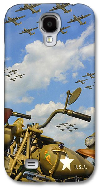 Warbird Galaxy S4 Cases - 1943 Harley WFC with B - 24 Liberators 2c Galaxy S4 Case by Mike McGlothlen
