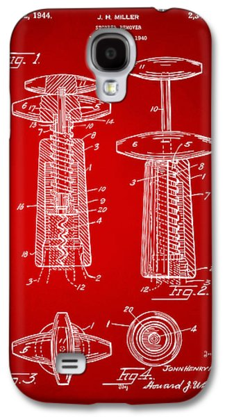 Wine Art Galaxy S4 Cases - 1944 Wine Corkscrew Patent Artwork - Red Galaxy S4 Case by Nikki Marie Smith