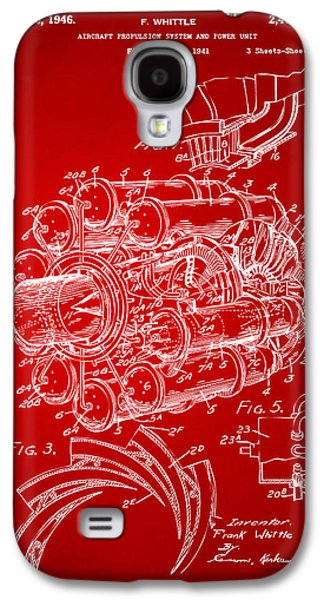 Jets Galaxy S4 Cases - 1946 Jet Aircraft Propulsion Patent Artwork - Red Galaxy S4 Case by Nikki Marie Smith