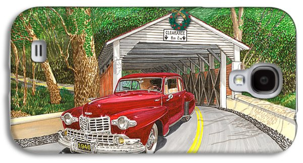 Covered Bridge Paintings Galaxy S4 Cases - 1946 Lincoln Continental Galaxy S4 Case by Jack Pumphrey