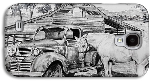 Old Barn Drawing Drawings Galaxy S4 Cases - 1947 Dodge Pick Up and Codi Galaxy S4 Case by Carolyn Valcourt