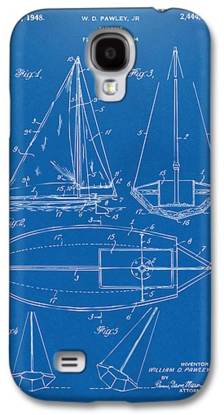 Rowboat Digital Art Galaxy S4 Cases - 1948 Sailboat Patent Artwork - Blueprint Galaxy S4 Case by Nikki Marie Smith