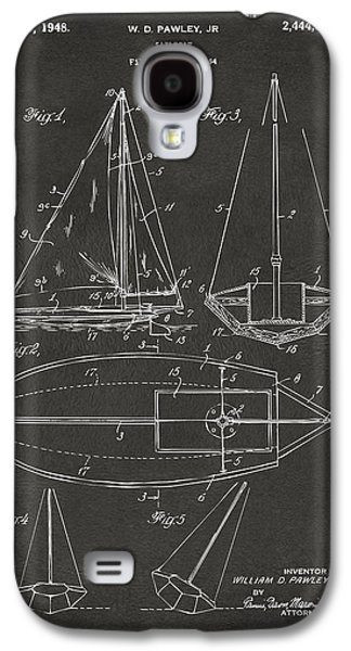 Row Boat Digital Galaxy S4 Cases - 1948 Sailboat Patent Artwork - Gray Galaxy S4 Case by Nikki Marie Smith