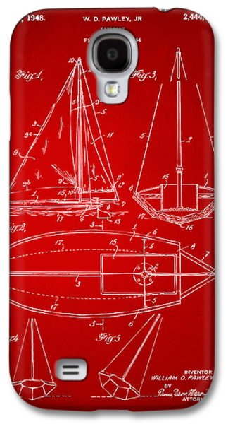 Row Boat Digital Galaxy S4 Cases - 1948 Sailboat Patent Artwork - Red Galaxy S4 Case by Nikki Marie Smith