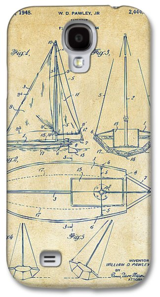 Row Boat Digital Galaxy S4 Cases - 1948 Sailboat Patent Artwork - Vintage Galaxy S4 Case by Nikki Marie Smith