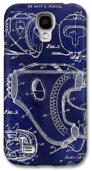 1949 Boxer Headgear Patent Drawing Blue Galaxy S4 Case by Jon Neidert