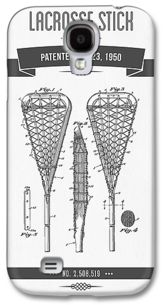 Technical Mixed Media Galaxy S4 Cases - 1950 Lacrosse Stick Patent Drawing - Retro Gray Galaxy S4 Case by Aged Pixel