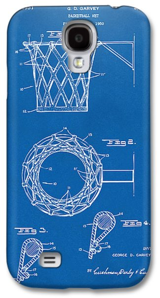 Basket Ball Game Galaxy S4 Cases - 1951 Basketball Net Patent Artwork - Blueprint Galaxy S4 Case by Nikki Marie Smith