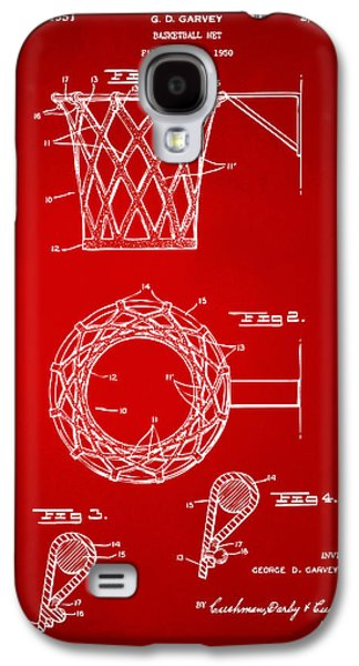 Basket Ball Game Galaxy S4 Cases - 1951 Basketball Net Patent Artwork - Red Galaxy S4 Case by Nikki Marie Smith