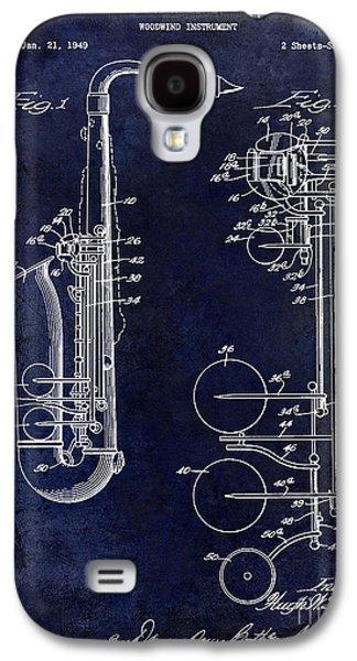 Saxophone Photographs Galaxy S4 Cases - 1951 Saxophone Patent Drawing Blue Galaxy S4 Case by Jon Neidert