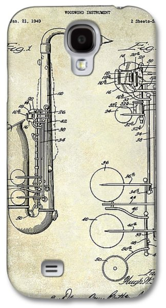 Saxophone Photographs Galaxy S4 Cases - 1951 Saxophone Patent Drawing Galaxy S4 Case by Jon Neidert