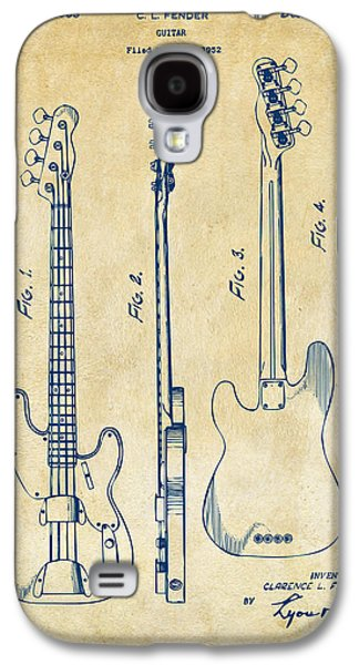 1953 Fender Bass Guitar Patent Artwork - Vintage Galaxy S4 Case by Nikki Marie Smith