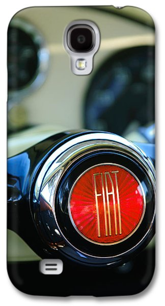 Concept Photographs Galaxy S4 Cases - 1954 Fiat 1100 Berlinetta Stanguellini Bertone Steering Wheel Emblem Galaxy S4 Case by Jill Reger