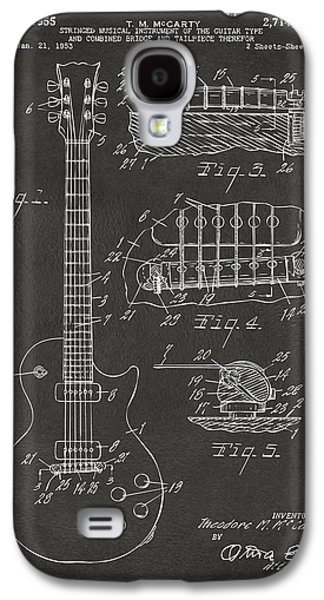 Caves Galaxy S4 Cases - 1955 McCarty Gibson Les Paul Guitar Patent Artwork - Gray Galaxy S4 Case by Nikki Marie Smith