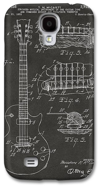Men Drawings Galaxy S4 Cases - 1955 McCarty Gibson Les Paul Guitar Patent Artwork - Gray Galaxy S4 Case by Nikki Marie Smith