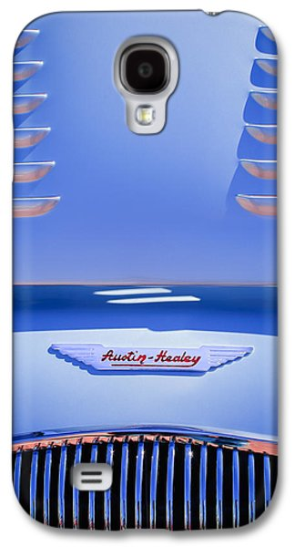 Factory Galaxy S4 Cases - 1956 Austin-Healey 100M BN2 Factory Le Mans Competition Roadster Hood Emblem Galaxy S4 Case by Jill Reger