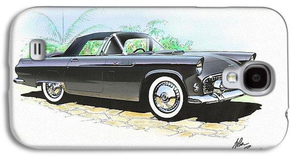 1956 Ford Thunderbird  Black  Classic Vintage Sports Car Art Sketch Rendering         Galaxy S4 Case by John Samsen