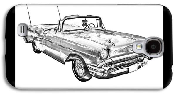 Nostalgia Digital Art Galaxy S4 Cases - 1957 Chevrolet Bel Air Convertible Illustration Galaxy S4 Case by Keith Webber Jr