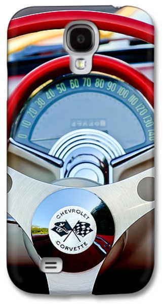 Classic Cars Photographs Galaxy S4 Cases - 1957 Chevrolet Corvette Convertible Steering Wheel Galaxy S4 Case by Jill Reger