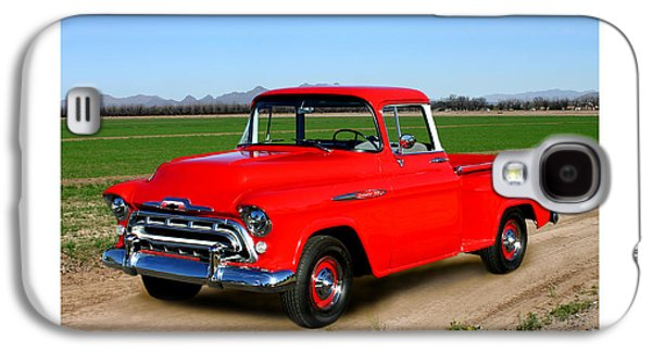 Photographs With Red. Galaxy S4 Cases - 1957 Chevrolet 3100 Pick Up Truck Galaxy S4 Case by Jack Pumphrey