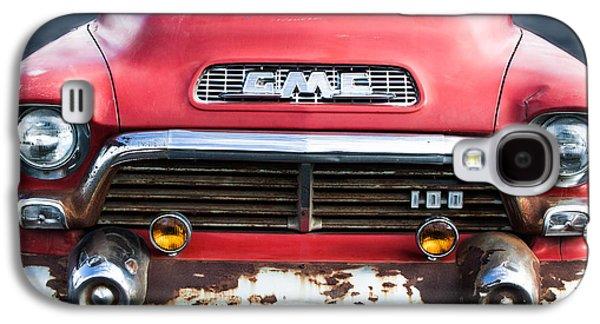 Transportation Photographs Galaxy S4 Cases - 1957 GMC V8 Pickup Truck Grille Emblem Galaxy S4 Case by Jill Reger