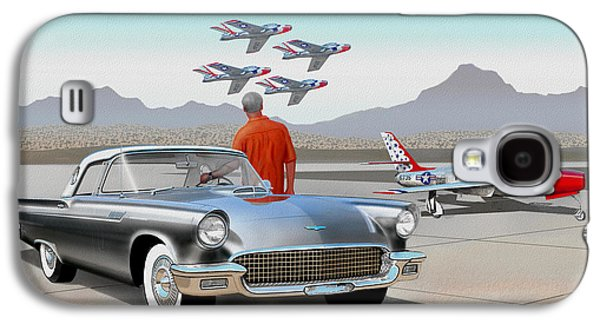 1957 Thunderbird  With F-84 Gunmetal Vintage Ford Classic Art Sketch Rendering           Galaxy S4 Case by John Samsen