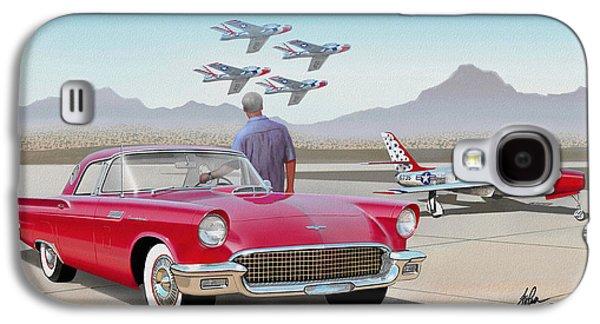 1957 Thunderbird  With F-84 Thunderbirds  Red  Classic Ford Vintage Art Sketch Rendering         Galaxy S4 Case by John Samsen